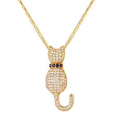 Žene Kubični Zirconia Ogrlice s privjeskom Teniski lanac Mačka dame Moda Iced Out Kamen Zlato Pink 55 cm Ogrlice Jewelry 1pc Za Dar Dnevno