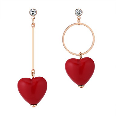 Dámské Visací náušnice Neshoda Srdce dámy korejština Sladký Cute Style Štras Náušnice Šperky Červená Pro Ležérní Jdeme ven 1 Pair