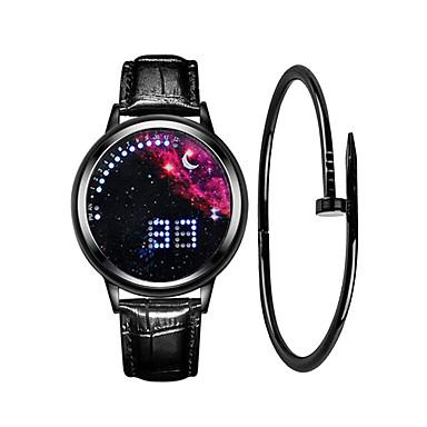 Недорогие Часы на кожаном ремешке-Муж. Спортивные часы электронные часы Цифровой Подарочный набор минималист Творчество Цифровой Черный / Синий Белый Черный / Один год / Кожа / ЖК экран / Фосфоресцирующий