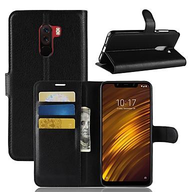غطاء من أجل Xiaomi Xiaomi Redmi Note 5 Pro / Xiaomi Redmi Note 6 / Xiaomi Pocophone F1 محفظة / حامل البطاقات / قلب غطاء كامل للجسم لون سادة قاسي جلد PU