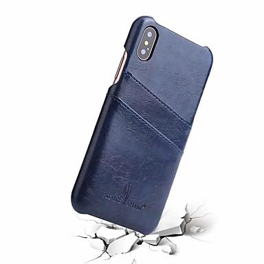 Недорогие Кейсы для iPhone-Кейс для Назначение Apple iPhone X Бумажник для карт Кейс на заднюю панель Однотонный Твердый Настоящая кожа