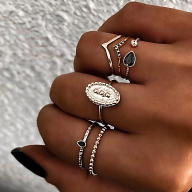 رخيصةأون خواتم-نسائي حلقة المفصل مجموعة الطوق خاتم بأصابيع متعددة 6PCS ذهبي فضي راتينج سبيكة بيضوي سيدات عتيق بانغك هدية مناسب للبس اليومي مجوهرات قديم الشمس كوول
