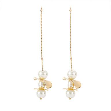 Women S Long Drop Earrings Imitation Pearl Simple Korean Fashion