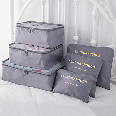 olcso Utazó bőröndök-6 db Utazótáska / Utazásszervező / Poggyászrendező utazáshoz Nagy kapacitás / Vízálló / Hordozható MELLTARTÓK / Ruhák Oxford szövet Szabadtéri / Utazás / Otthonra / Tartós