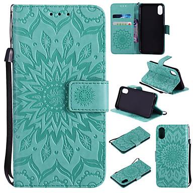 Недорогие Кейсы для iPhone 6 Plus-Кейс для Назначение Apple iPhone XS / iPhone XR / iPhone XS Max Кошелек / Бумажник для карт / со стендом Чехол Мандала / Однотонный Твердый Кожа PU