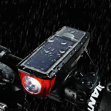 LED اضواء الدراجة ضوء الدراجة الأمامي دراجة القرن الخفيفة دراجة جبلية الدراجة ركوب الدراجة ضد الماء سطوع رائع محمول تحذير USB 350 lm قابلة لإعادة الشحن مدعوم بالبطاريات مدعوم بالطاقة الشمسية أبيض أخضر