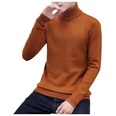 Muškarci Dnevno Osnovni Jednobojni Dugih rukava Regularna Pullover Džemper od džempera, Dolčevita Crn / Obala / Braon M / L / XL