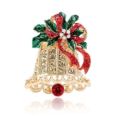 Žene Broševi 3D Zvono dame Jednostavan Umjetno drago kamenje Broš Jewelry Zlato Za Božić
