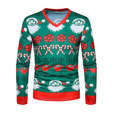 رخيصةأون تيشيرتات وتانك توب رجالي-رجالي عيد الميلاد تيشرت, هندسي V رقبة / كم طويل