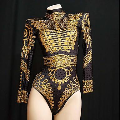 cheap Activewear-Exotic Dancewear Rhinestone Bodysuit / Club Costume Women's Performance Spandex Crystals / Rhinestones Long Sleeve Leotard / Onesie