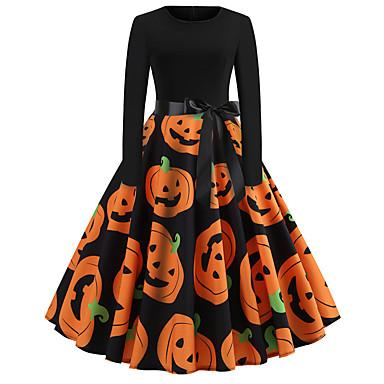 ieftine Halloween és farsangi jelmezek-Dovleac Rochii Adulți Pentru femei rochie de vacanță Halloween Halloween Festival / Sărbătoare Poliester Negru Pentru femei Uşor Costume de Carnaval / Rochie / Centură