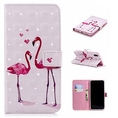Недорогие Кейсы для iPhone X-Кейс для Назначение Apple iPhone XS / iPhone XR / iPhone XS Max Кошелек / Бумажник для карт / со стендом Чехол Фламинго / Животное Твердый Кожа PU