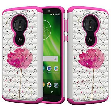 Недорогие Чехлы и кейсы для Motorola-Кейс для Назначение Motorola MOTO G6 / Moto G6 Play / Moto E5 Play Защита от удара / Стразы / С узором Кейс на заднюю панель Стразы / Цветы Твердый ПК