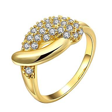 Žene Prsten Kubični Zirconia mali dijamant 1pc Zlato Rose Gold 18K Gold Geometric Shape dame Moda Dnevno Kamado roštilj Jewelry Klasičan Lijep