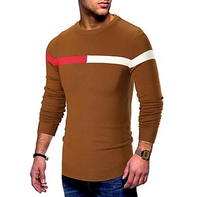 Muškarci Dnevno Osnovni Prugasti uzorak / Jednobojni Dugih rukava Slim Regularna Pullover Džemper od džempera, Okrugli izrez Jesen / Zima Crn / Braon / Sive boje M / L / XL