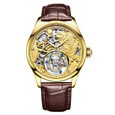 AngelaBOS Heren Skeleton horloge mechanische horloges Handmatig opwindmechanisme Echt leer Zwart / Bruin Waterbestendig Hol Gegraveerd Creatief Analoog Luxe Modieus - Goud Zilver Goud Rose