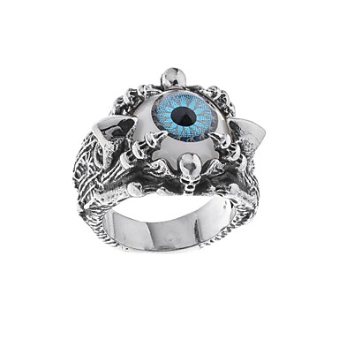 Muškarci Band Ring Sapphire 1pc Srebro Titanium Steel Cirkularno Stilski Jedinstven dizajn Guro Lolita Halloween Karneval Jewelry Klasičan Lubanja magija Cool
