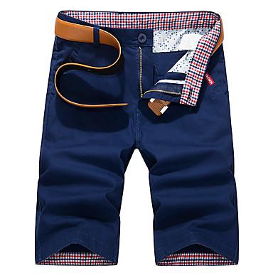 Muškarci Ulični šik Dnevno Chinos / Kratke hlače Hlače - Jednobojni Plava Navy Plava Žutomrk 28 29 30