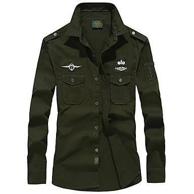 Veći konfekcijski brojevi Majica Muškarci - Vojni Dnevno Jednobojni Crn / Dugih rukava