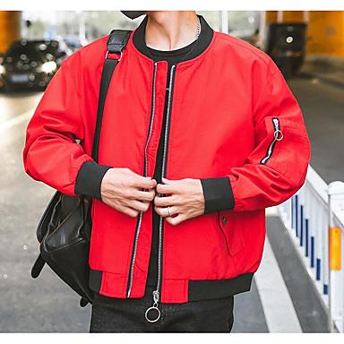 Muškarci Izlasci Osnovni Normalne dužine Jakna, Slovo Ruska kragna Dugih rukava Poliester Crn / Red / Sive boje XL / XXL / XXXL / Slim