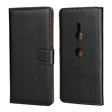 Недорогие Чехлы и кейсы для Sony-Кейс для Назначение Sony Sony XA2 Plus / Sony Xperia XZ2 Premium / Sony Xperia XZ3 Кошелек / Бумажник для карт / со стендом Чехол Однотонный Твердый Настоящая кожа