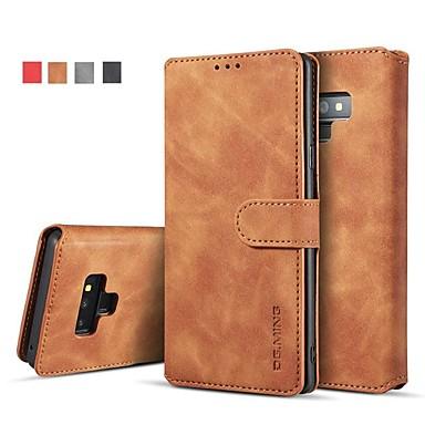 Недорогие Чехлы и кейсы для Galaxy Note-Кейс для Назначение SSamsung Galaxy Note 9 / Note 8 Кошелек / Бумажник для карт / со стендом Чехол Однотонный Твердый Кожа PU