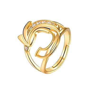 رخيصةأون خواتم-نسائي خاتم مكعب زركونيا 1PC ذهبي نحاس سيدات موضة هدية مناسب للبس اليومي مجوهرات فراغ خارجي عصفور
