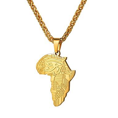 ราคาถูก สร้อยคอ-สำหรับผู้ชาย สร้อยคอจี้ คลาสสิค แผนที่ แผนที่ Eyes ดวงตาแห่งฮอรัส คลาสสิก แฟชั่น แอฟริกา แอฟริกัน เหล็กกล้าไร้สนิม สีดำ Rose Gold Rhinestone สีดำ RoseGolden Rhinestone จดหมาย RoseGolden 55 cm สร้อยคอ