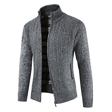 Muškarci Dnevno Jednobojni Dugih rukava Regularna Kardigan Džemper od džempera Svijetlosiva / Plava / Red M / L / XL