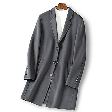 Muškarci Dnevno Ulični šik Normalne dužine Kaput, Jednobojni Odbačenost Dugih rukava Poliester Crn / Sive boje
