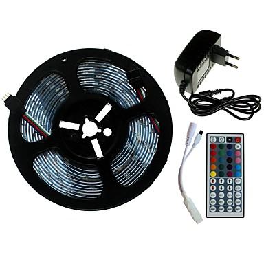 SENCART 5m Setovi svjetala 300/150 LED diode SMD5050 1 44Ključuje daljinski upravljač / 1 x 2A mrežni adapter RGB Cuttable / Ukrasno / Povezivo 100-240 V 1set / Pogodno za vozila / Samoljepljiva