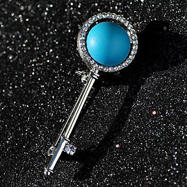 Žene Sapphire Broševi Retro Tipke dame Europska Umjetno drago kamenje Glina Broš Jewelry Plava LED Za Ulica