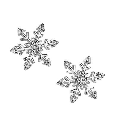 Žene Sitne naušnice 3D Pahulja dame Stilski Jednostavan Glina Imitacija dijamanta Naušnice Jewelry Pink Za Božić Dnevno 1 par