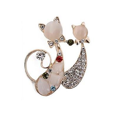 رخيصةأون بروشات-نسائي دبابيس 3D قط سيدات أنيق كلاسيكي حجر الراين بروش مجوهرات ذهبي من أجل مناسب للبس اليومي