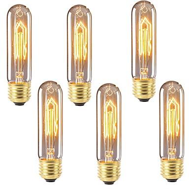 6kom 40 W E26 / E27 T10 Toplo bijelo 2200-2700 k Retro / Zatamnjen / Ukrasno Žarulja sa žarnom niti Edison 220-240 V