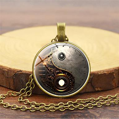 Muškarci Ogrlice s privjeskom Retro yin yang Vintage Kinezerije Steampunk kinetički Reciklirani papir Legura Zlato Crn Pink 45+5 cm Ogrlice Jewelry 1pc Za Maškare Profesionalac