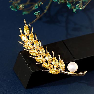 Žene Slatkovodni biser Broševi Klasičan Šiljak dame Luksuz Korejski Pozlaćeni Austrijski kristal Broš Jewelry Obala Za Ulica