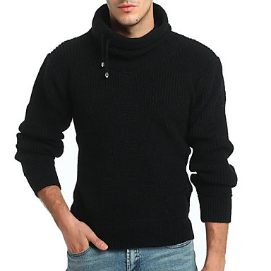 Muškarci Dnevno Jednobojni Dugih rukava Regularna Pullover Džemper od džempera Crn / Deva M / L / XL