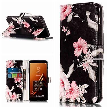 voordelige Galaxy A-serie hoesjes / covers-hoesje Voor Samsung Galaxy A3 (2017) / A5 (2017) / A8 2018 Portemonnee / Kaarthouder / met standaard Volledig hoesje Bloem Hard PU-nahka