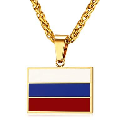Muškarci Ogrlice s privjeskom Klasičan Zastava Patriotski nakit Klasik Tikovina Zlato Pink 55 cm Ogrlice Jewelry 1pc Za Dar Dnevno