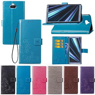 Недорогие Чехлы и кейсы для Sony-Кейс для Назначение Sony Sony XA2 Plus / Xperia XZ2 / Xperia XZ2 Compact Бумажник для карт / со стендом / Флип Чехол Однотонный / Бабочка Твердый текстильный