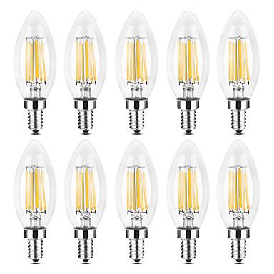 YWXLIGHT® 10pcs 6 W LED svjećice LED filament žarulje 500-600 lm E14 C35 6 LED zrnca COB Toplo bijelo Bijela 220-240 V