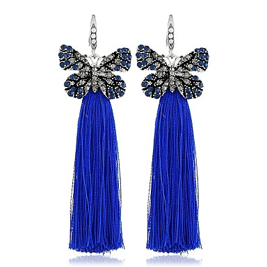 e948e8122ab6 Mujer Borlas Pendientes colgantes Brillante Aretes Mariposa damas Elegante  Clásico Joyas Arco Iris   Rosa claro   Azul Real Para Diario 1 Par 7013969  2019 ...