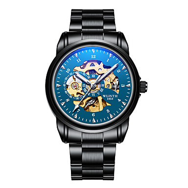 cheap Leather band Watches-WLISTH Men's Skeleton Watch Wrist Watch Mechanical Watch Automatic self-winding Luxury Water Resistant / Waterproof Analog Blue / Black Black Blue / Stainless Steel / Japanese / Chronograph