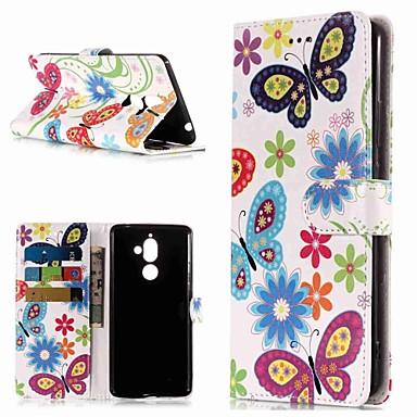 غطاء من أجل نوكيا Nokia 7 Plus / Nokia 6 2018 / Nokia 1 محفظة / حامل البطاقات / مع حامل غطاء كامل للجسم فراشة قاسي جلد PU