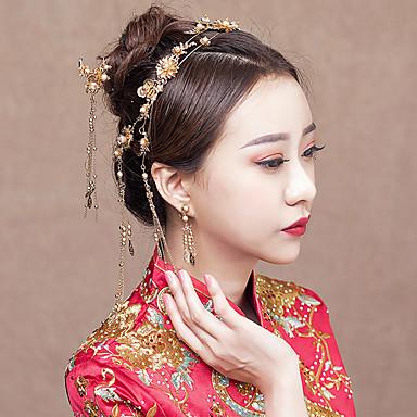 Nevjesta Clasic Kićanka Tradicionalno Kineski stil Šeširi Naušnica Svadbeni nakit Setovi Za Djevojačka večer Svadba Žene Djevojčice Nakit odjeće / Cvjetni print