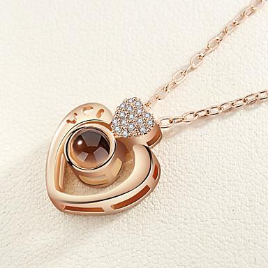 Žene Charm Necklace Klasičan Srce dame Romantični Korejski Slatka Style Umjetno drago kamenje Legura Zlato Pink 42+5 cm Ogrlice Jewelry 1pc Za Spoj Izlasci