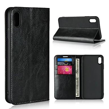 Недорогие Кейсы для iPhone 7-Кейс для Назначение Apple iPhone XS / iPhone XR / iPhone XS Max Кошелек / Бумажник для карт / со стендом Чехол Однотонный Твердый Настоящая кожа