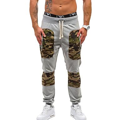 Muškarci Sport Sportske hlače Hlače - Color block / kamuflaža Pamuk Crn Tamno siva Svijetlosiva L XL XXL