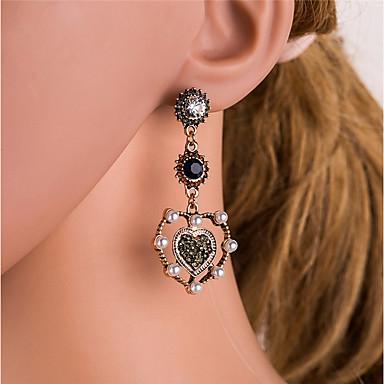Žene Viseće naušnice Vintage Style Marcasite Srce dame Vintage Imitacija bisera Umjetno drago kamenje Naušnice Jewelry Zlato Za Dnevno 1 par